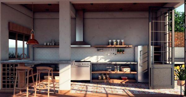 Cocina industrial grande con madera