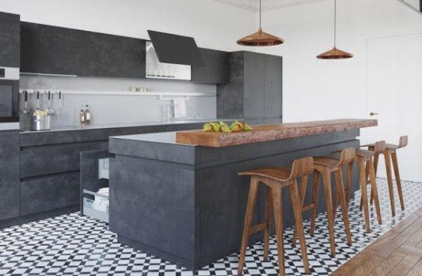 Cocina estilo industrial suelo baldosas hidraulicas