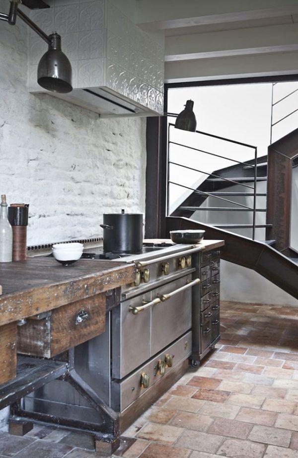 Cocina estilo industrial, aspecto envejecido