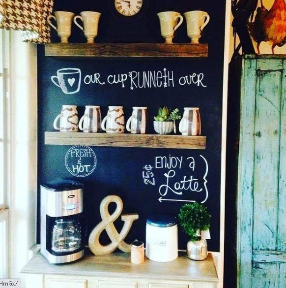 Coffe corner pizarra y estante