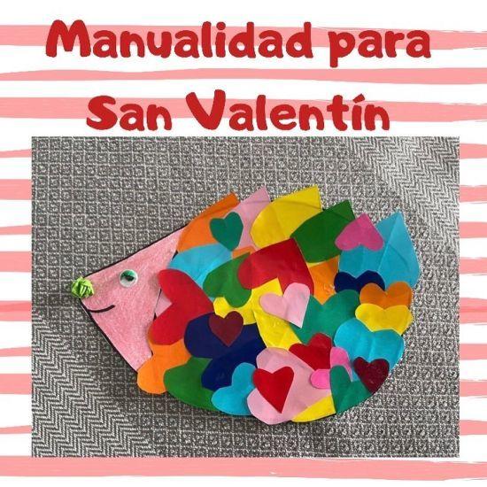 Manualidades San Valentín erizo de colores