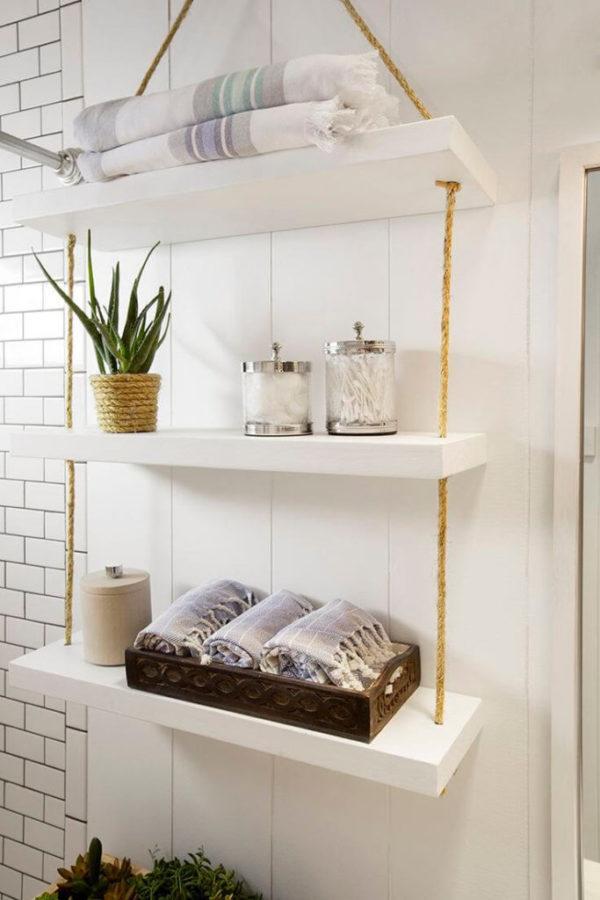 Como colocar las toallas en el bano decoracion estante colgante