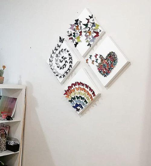 Cuadro en tres piezas con mariposas