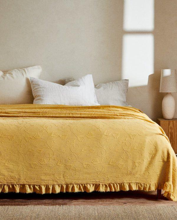 Zara home colchas colcha algodon amarilla flores