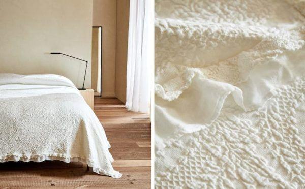 Zara home colchas colcha algodon blanco flores