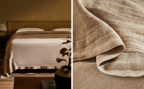 Zara home colchas colcha algodon lino natural
