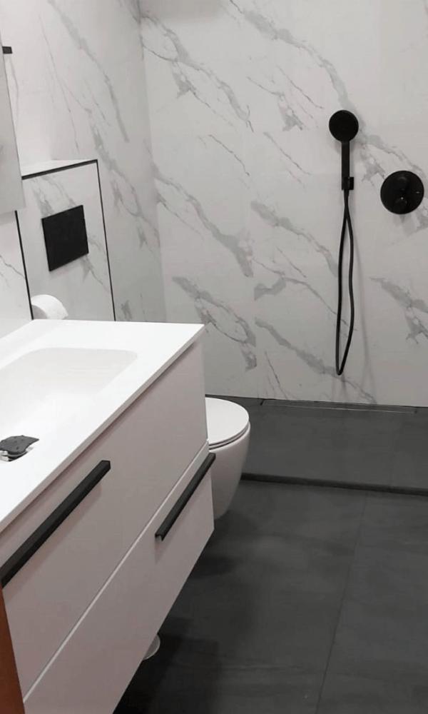 Azulejos baño moderno azulejos suelo hidraulico negro
