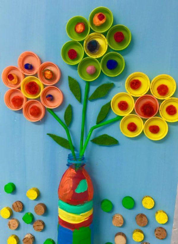 Manualidades dia de la madre con botellas de plastico jarron flores tapones