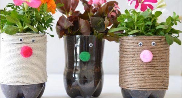 Manualidades dia de la madre con botellas de plastico maceta cuerda