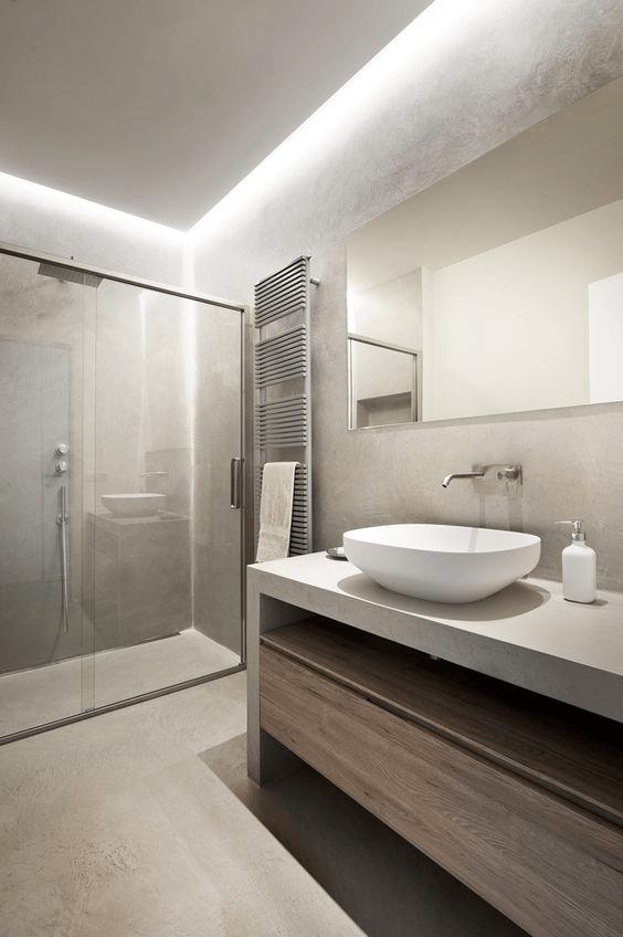 Paredes baño moderno microcemento