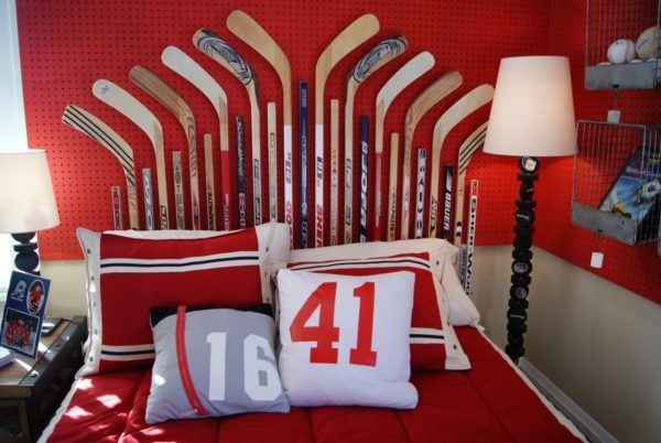 Cabeceros diy baratos cabecero con palos de hockey
