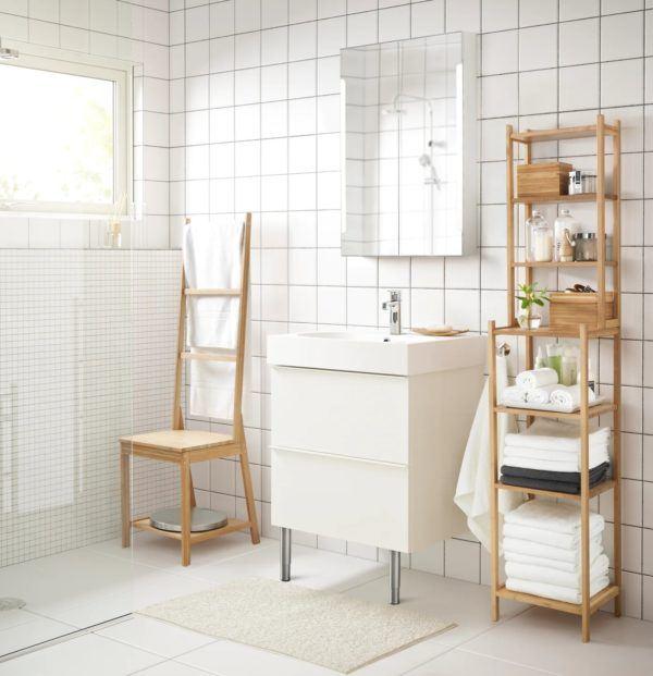 Baños pequeños ikea idea blanco muebles de madera