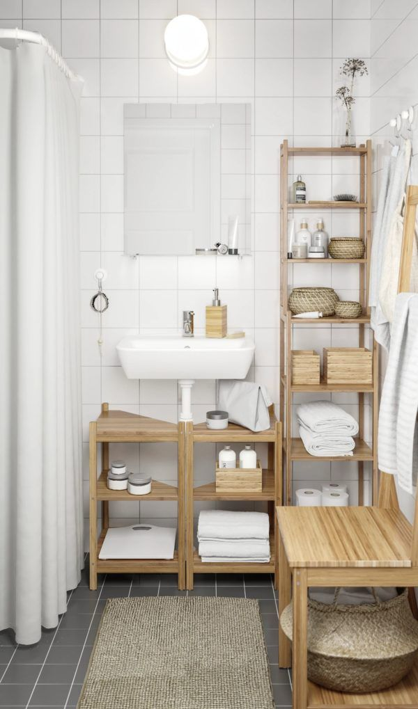 Baños pequeños ikea idea blanco muebles madera