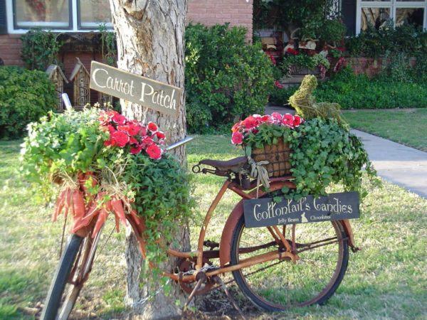Jardin rustico ideas jardinera bicicleta