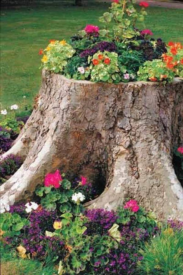 Jardin rustico ideas jardinera tronco de arbol