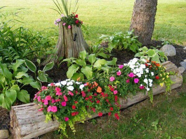 Jardin rustico ideas jardineras tronco