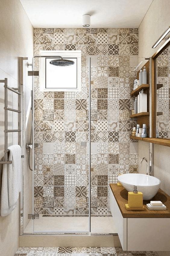 15 banos pequenos con ducha 2021 2022 azulejos vintage