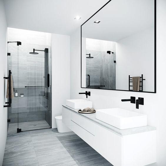 15 banos pequenos con ducha 2021 2022 blanco negro