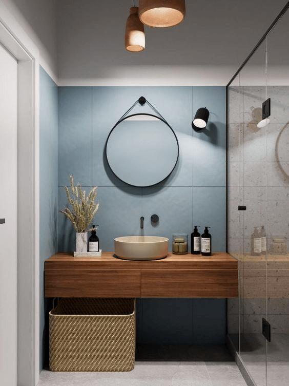 15 banos pequenos con ducha 2021 2022 espejo redondo