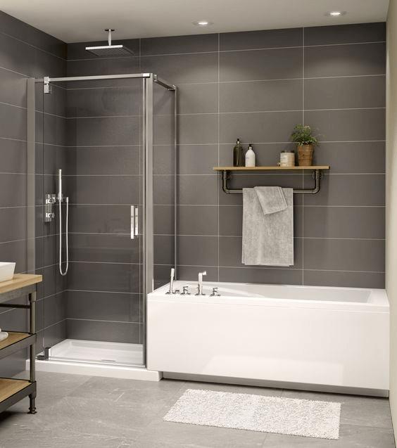 15 banos pequenos con ducha 2021 2022 pared gris