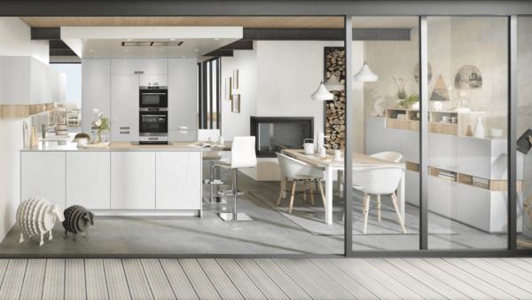15 cocinas pequenas abiertas al salon 2021 2022 cocina SCHMIDT abierta terraza exterior