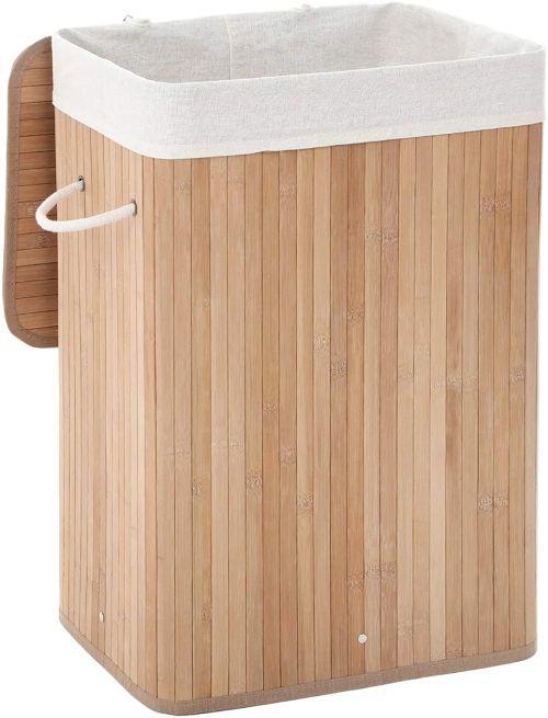 Cesto para la ropa de bambú, de Amazon