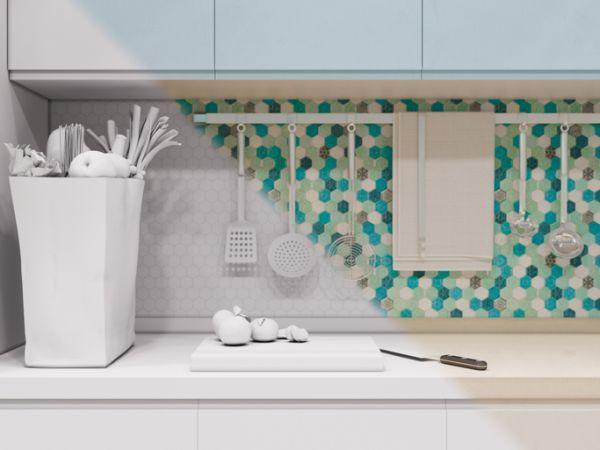 Azulejos de la cocina octógonos de colores