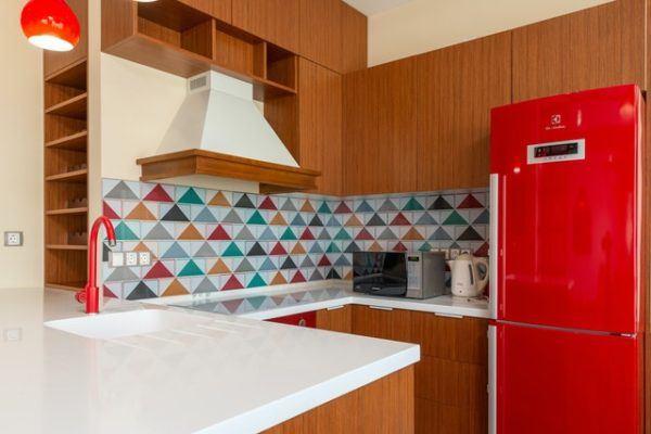 Azulejos de color en cocina
