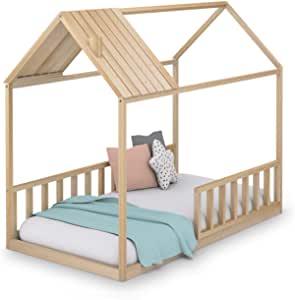 Cama Montessori casita madera natural