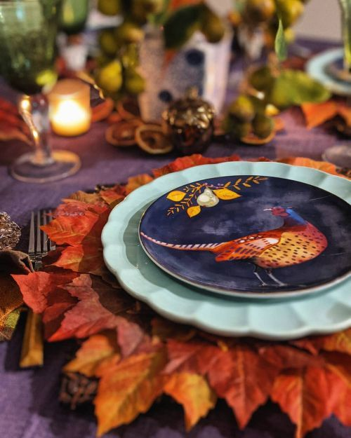 Mesa de Acción de Gracias plato pavo