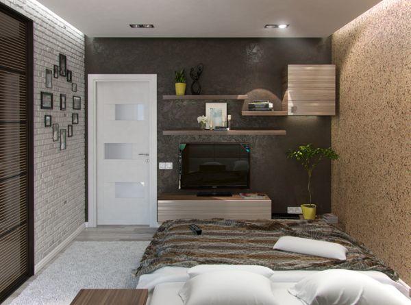 Estante con soportes ocultos en dormitorio