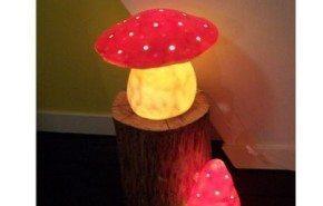 Lámparas con forma de hongos y setas