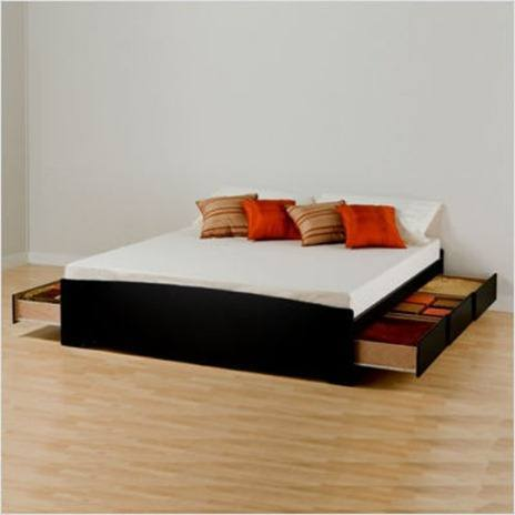 Black Sonoma King Platform Storage Bed