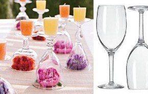 Centro de mesa con copas y velas