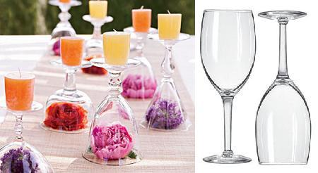 Centro de mesa con copas y velas for Centros de mesa con copas
