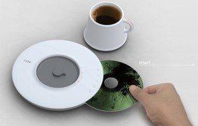 Taza de café con reproductor de CD