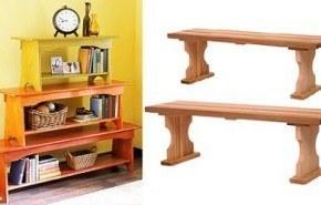 Fabrica una bonita estantería con bancos de madera