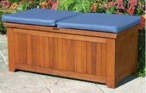 Banco de almacenaje en madera para exteriores