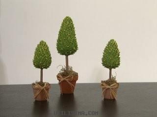 En este caso, la idea es realizar unos pequeños pinos de porcelana