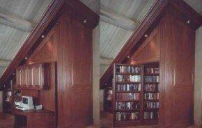 Una biblioteca-escritorio giratoria