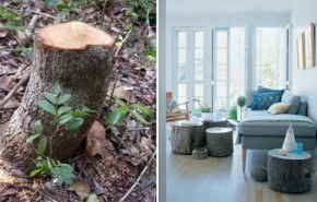 Fabrica mesas rústicas con troncos